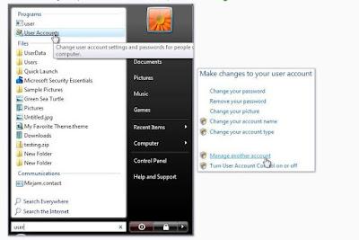 Windows Vista, menu Démarrer. Pour gérer les comptes utilisateur, tapez 'utilisateur' dans la zone de recherche du menu Démarrer. Ensuite, cliquez sur Comptes d'utilisateurs.