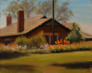 Oil painting of a house with chimneys and gabled roof, with flowers and grass in the foreground.