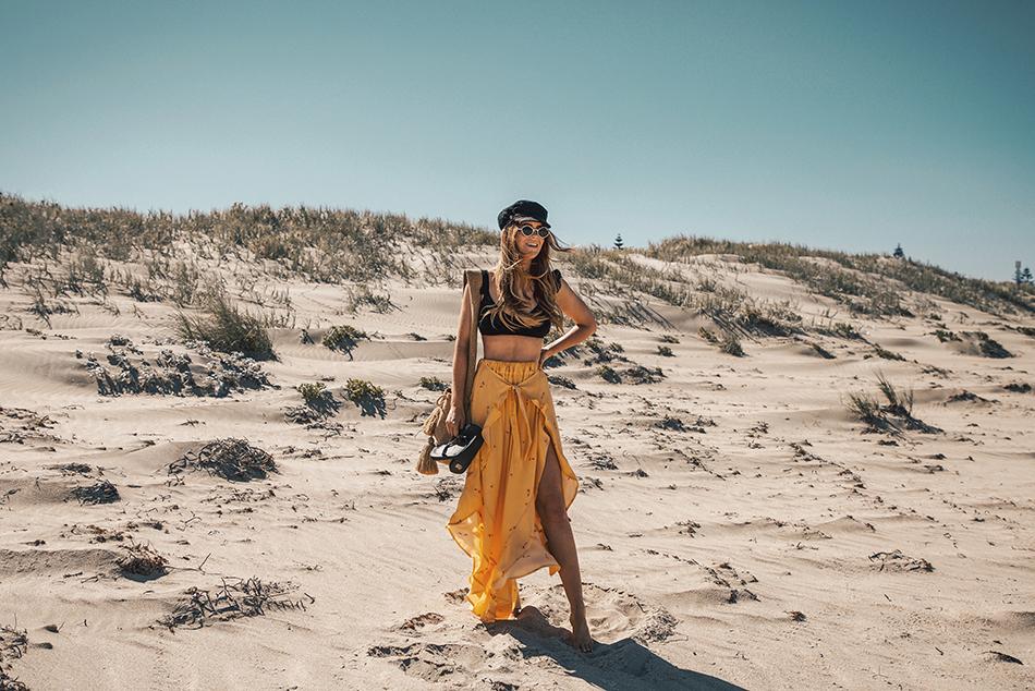 Lion in the Wild, Kiara King, beach outfit, summer style, yellow pants, ASOS bikini,  baker boy cap