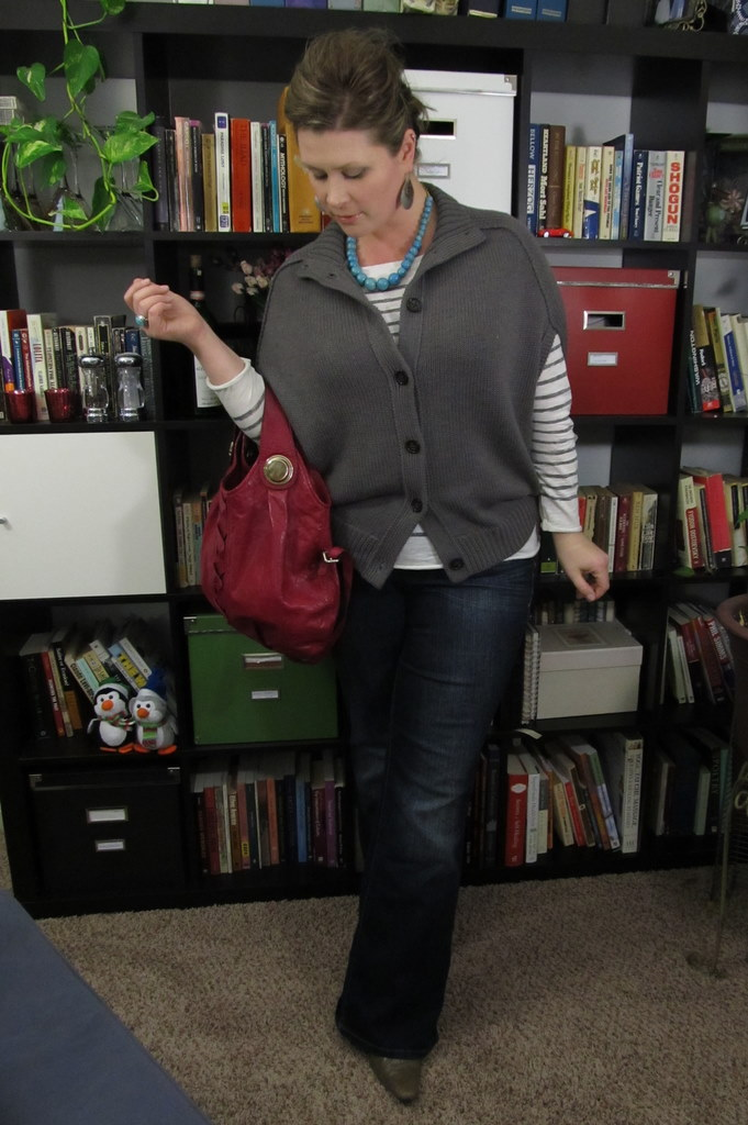 8ab7e4480af Drop shoulder cardigan - Banana Republic   Stripe tee - LOFT   Jeans - Lane  Bryant   Boots - Famous Footwear   Handbag - Gustto