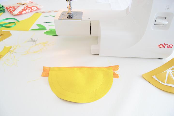 étape 4 diy porte monnaie citron