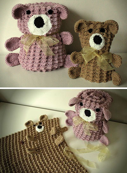 Roly Poly Teddy Blankets - Crochet Pattern