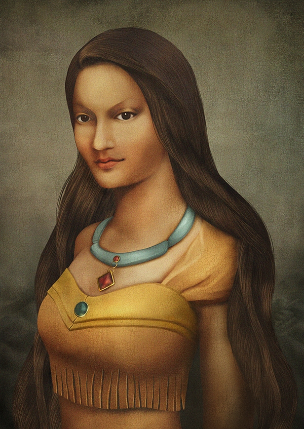 07-Pocahontas-Thunyamon-Charoensuttikul-Illustrations-of-Disney-Princesses-with-a-Renaissance-Twist-www-designstack-co