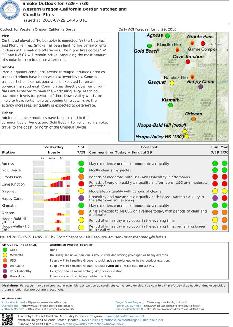 smoke outlook for western oregon california fires for sunday and monday includes grants pass cave junction gold beach agness