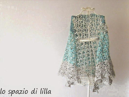 IRIDE scialle crochet in cotone con spilla / IRIDE crochet cotton shawl with brooch