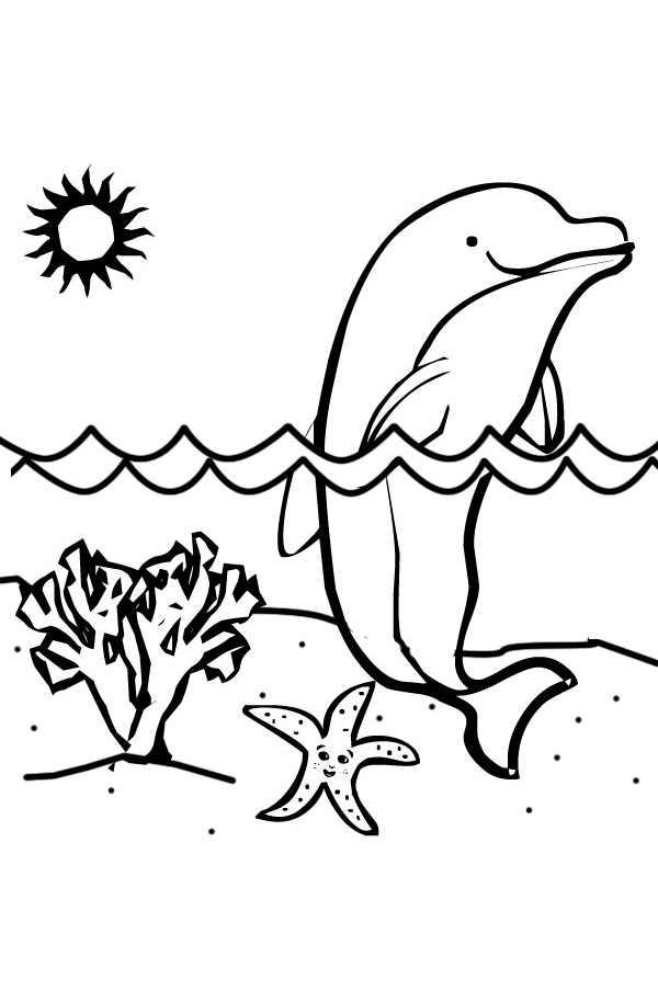 Tranh tô màu chú cá heo tạo dáng