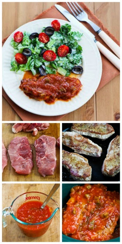 Slow Cooker Salsa Pork Chops with Garlic, Cumin, and Lime from Kalyn's Kitchen