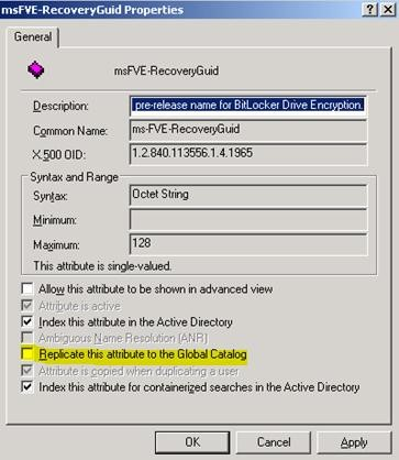 Unable to search for BitLocker Recovery Password via