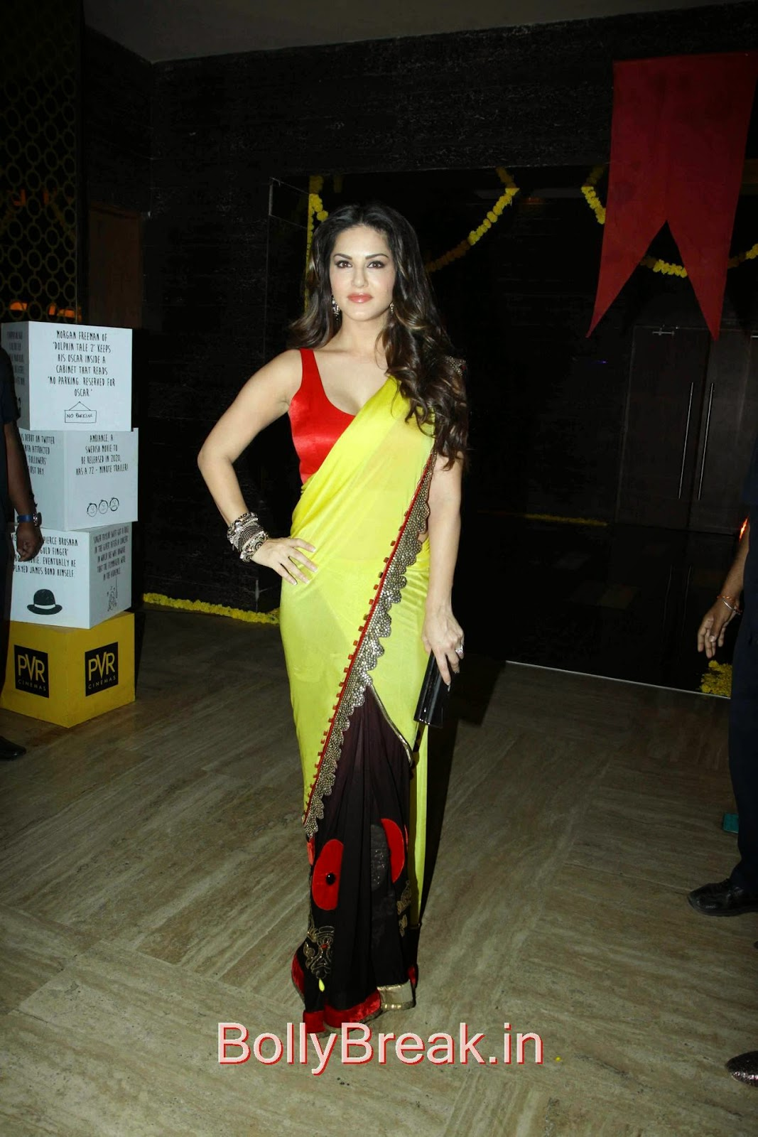 Leela Movie Actress Sunny Leone Hot Pics In Yellow Saree -1880