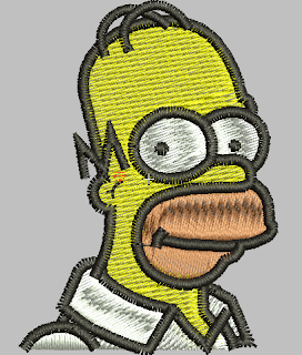 homero simpson en diseño de bordado