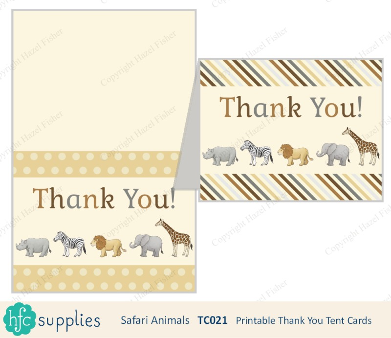 Safari Animal printable thank you cards on hfcSupplies Etsy by hazelfishercreations
