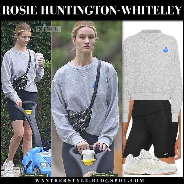 Rosie Huntington-Whiteley in grey sweatshirt isabel marant and black biker shorts alo yoga model off duty style october 14