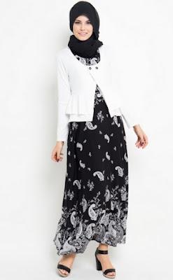 Gamis batik kombinasi blazer polos untuk wanita karir