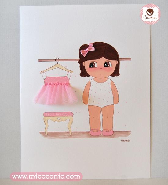 cuadro infantil lamina niña bailarina vistiendose