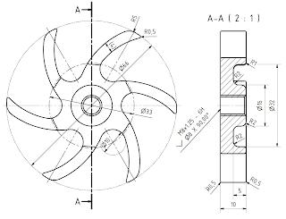 Mechanical Machine Design: Centrifugal Turbine Impeller 2D