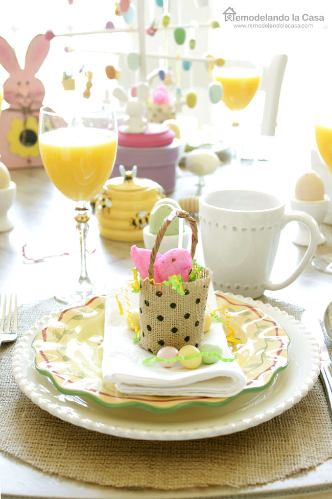 yellow and white and pink easter table