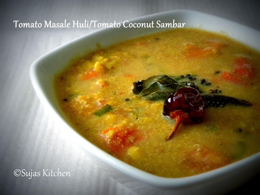 Tomato Masale Huli (Tomato Coconut sambar) from Udupi.