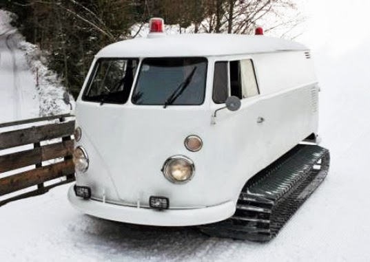 Crazy 1966 VW Bus With Snowmobile Tracks and Sound System Takes the Party to the Slopes
