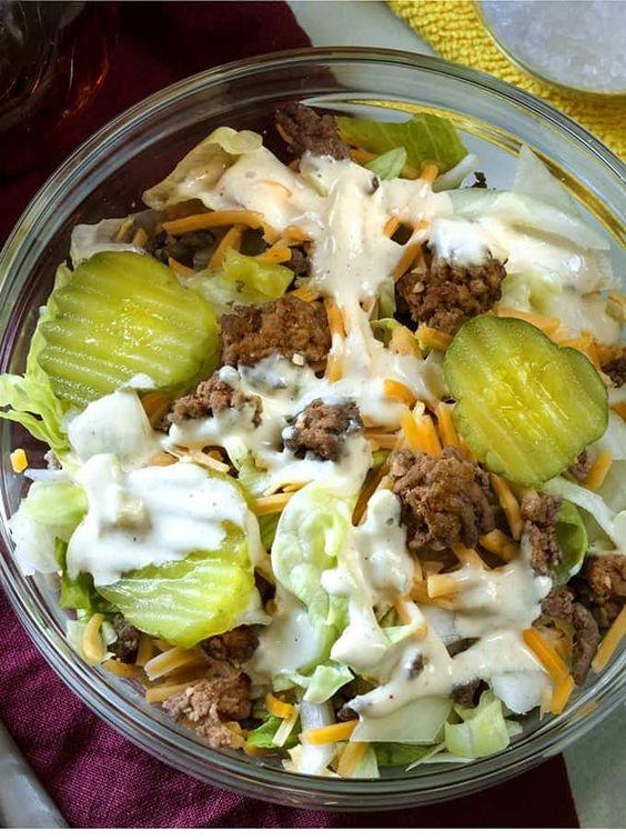 Keto Big Mac Salad | Low Carb Hamburger Salad
