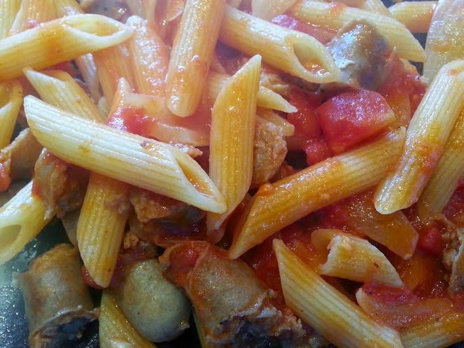 Simple Meaty penne pasta with sausage recipe camping cookbook