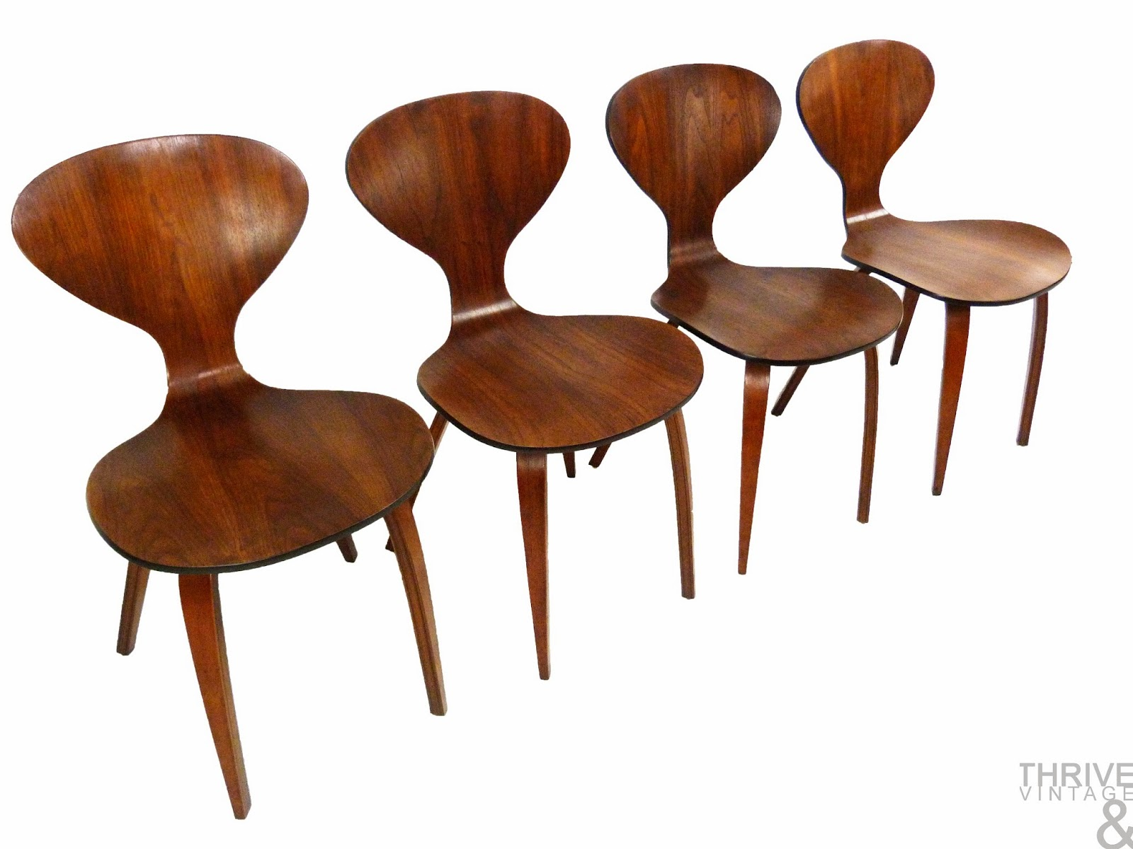 Set of four mid century modern cherner bentwood dining chairs
