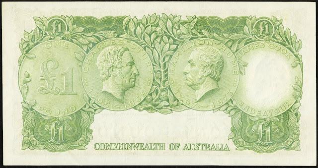 Commonwealth of Australia One Pound banknote 1953 Explorers Charles Sturt and Hamilton Hume