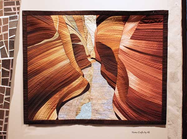 Quilt in natural colors of utah slot canyon in national park