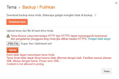 mengatasi gagal unpload template blogspot