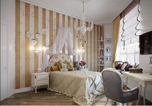 Kleine-schlafzimmer-landhausstil-Design-mit-streifen-wandgestaltung-weiß-braun