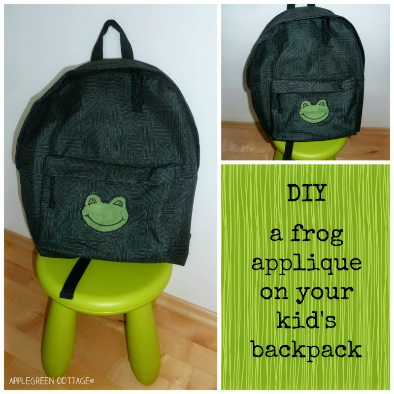 backpack with a frog applique