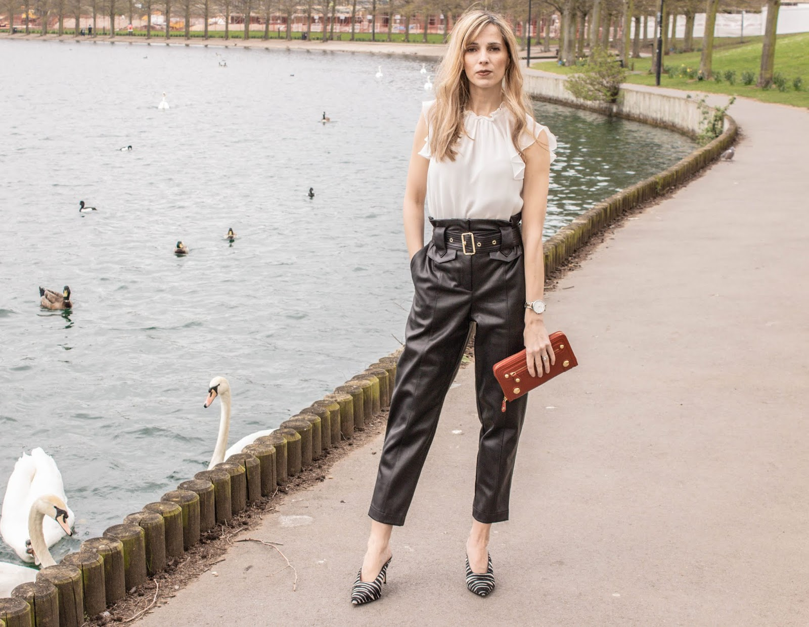How To Style Faux Leather Trousers