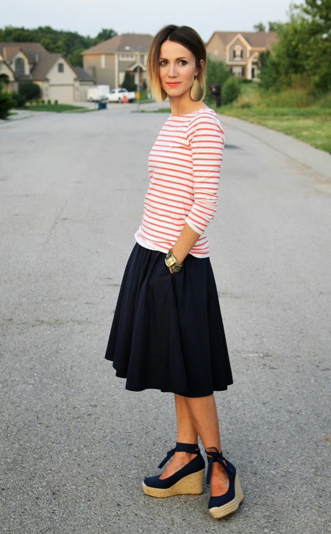 Navy midi skirt and red striped tee