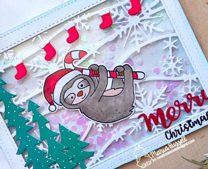 Merry Christmas Sloth Card by Maria Russell | Slothy Christmas Stamp Set by Newton's Nook Designs #newtonsnook #handmade