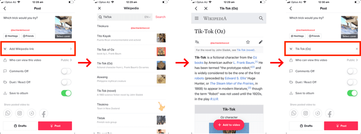 TikTik Allows External Wikipedia Links