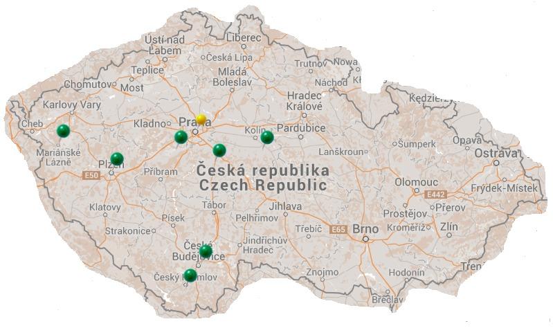 Mapa con el itinerario que seguí en la República Checa