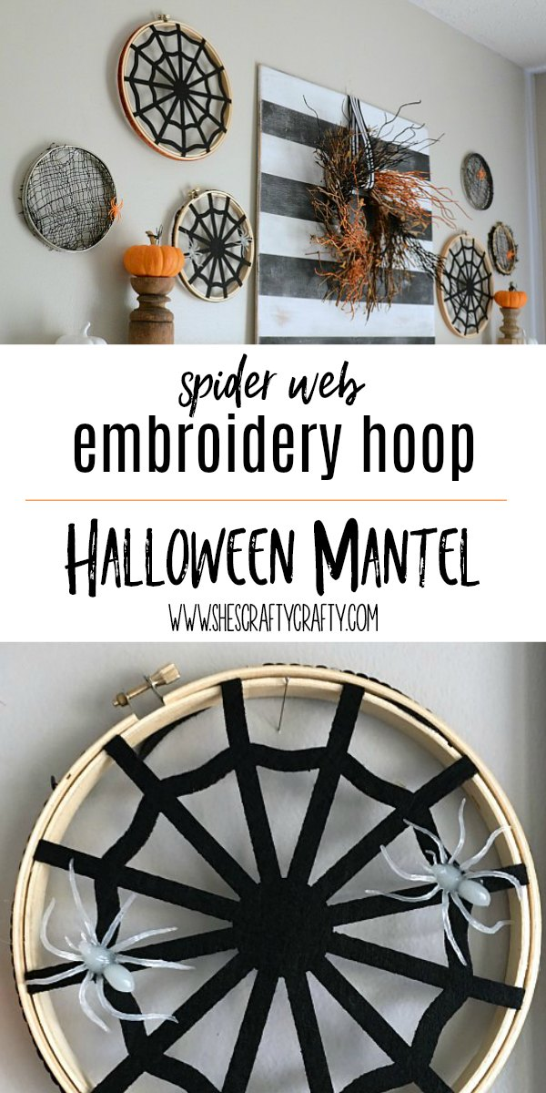 halloween mantel, spiderweb, pumpkin