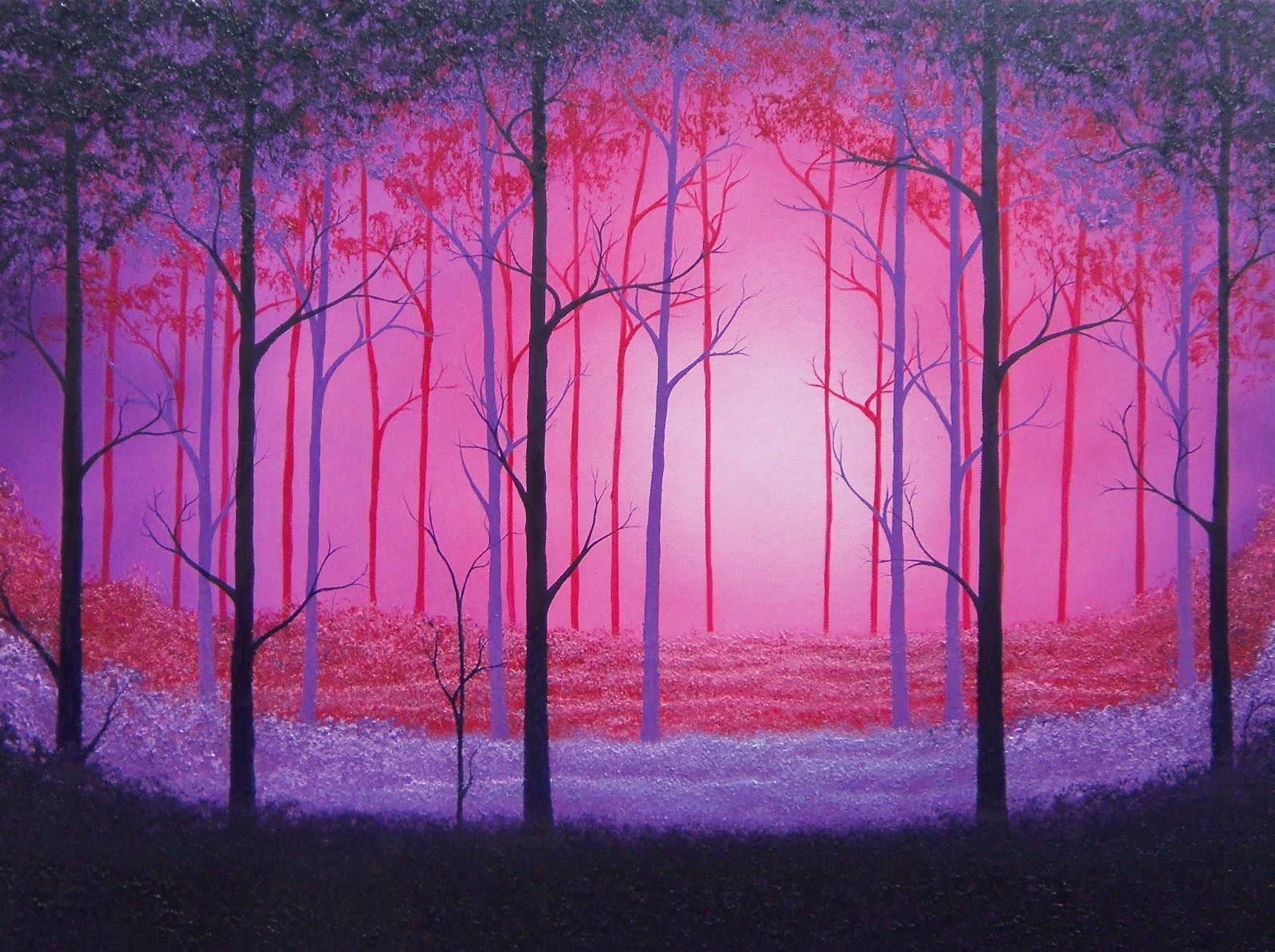 Dark Art Foggy Forest Oil Painting Surreal Of Purple Trees 18 X 24 Original