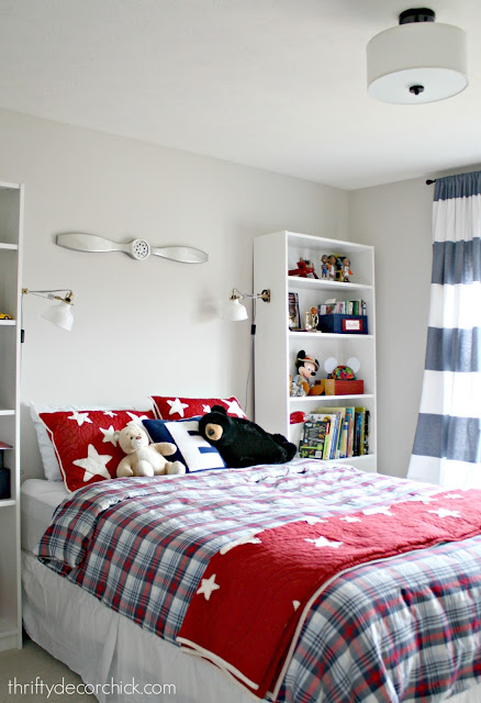 Red blue and white boy room