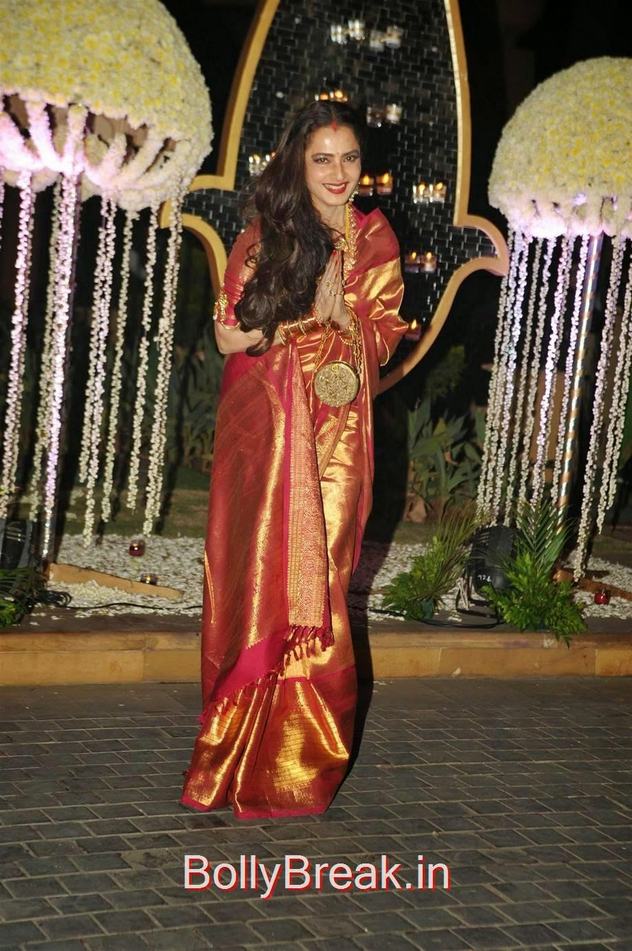 Rekha Pics in Yellow and Red Pattu Saree, Hot HD Images of Rekha in saree from Riddhi Malhotra Wedding Reception