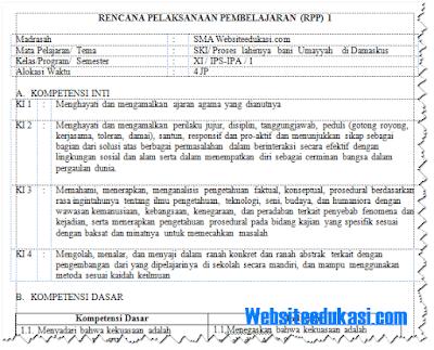 RPP Sejarah Budaya Islam Kelas 11 Kurikulum 2013 Revisi 2018