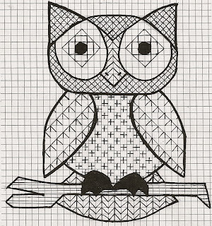 owl chart with stitch patterns
