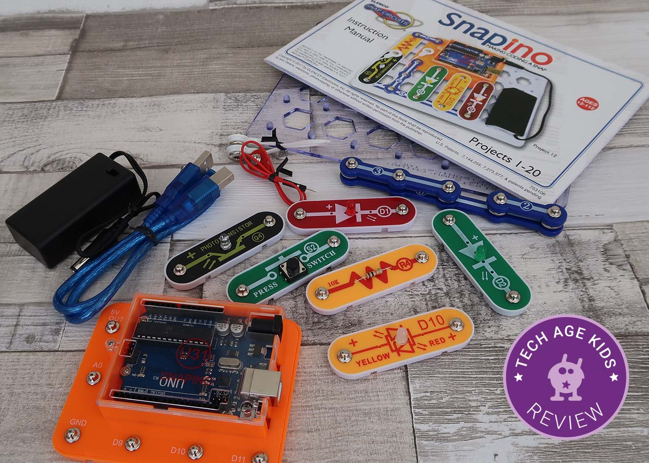 Snapino Snap Circuits Arduino Coding Elenco Electronics Electrical Project Kid Educational It Includes An Uno Development Board That Works With Components To Introduce The Hobbyist Platform