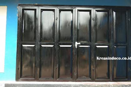 Pintu Garasi Besi Cat Semprot Pemasangan di Kolam Renang Tirta Ria Beji Depok