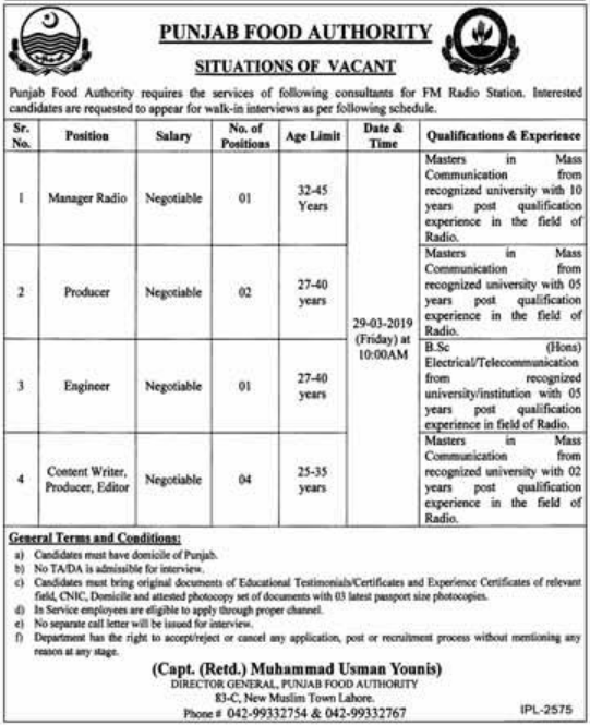 Advertisement for Punjab Food Authority Jobs