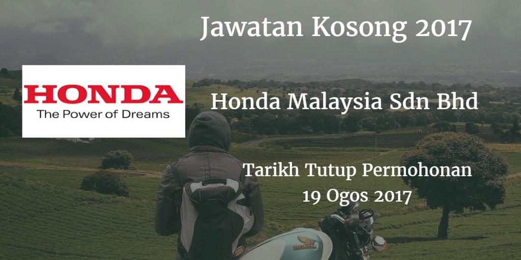 Jawatan Kosong Honda Malaysia Sdn Bhd 19 Ogos 2017