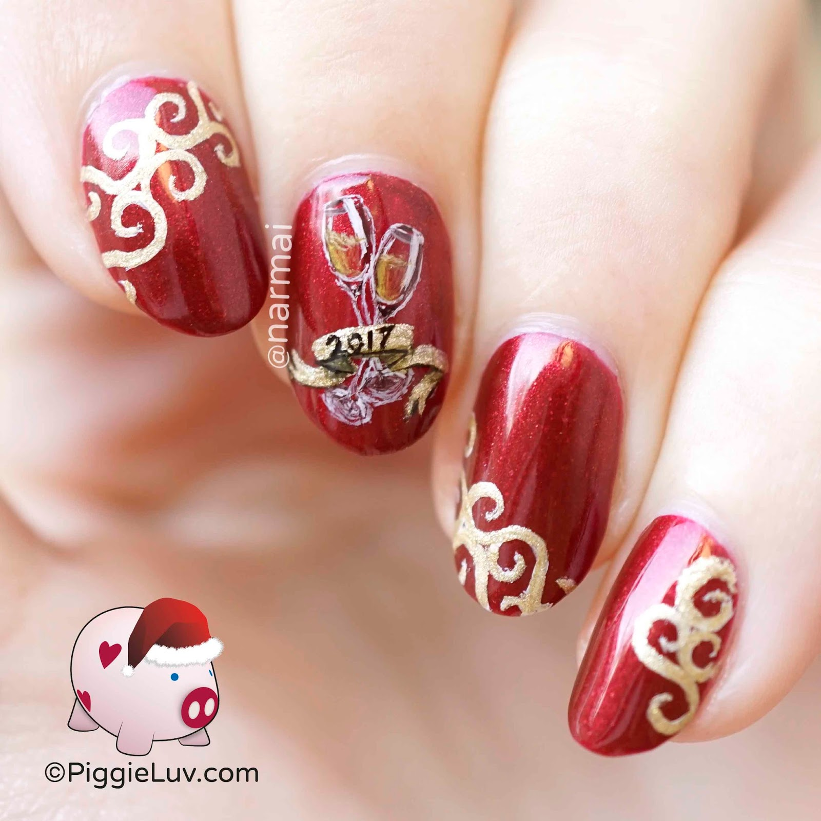 PiggieLuv: 2017 New Year\'s nail art