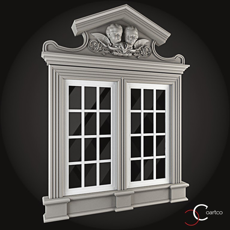 Ornamente Geamuri Exterior, fatade case cu profile decorative polistiren, profile fatada,  Model Cod: WIN-086