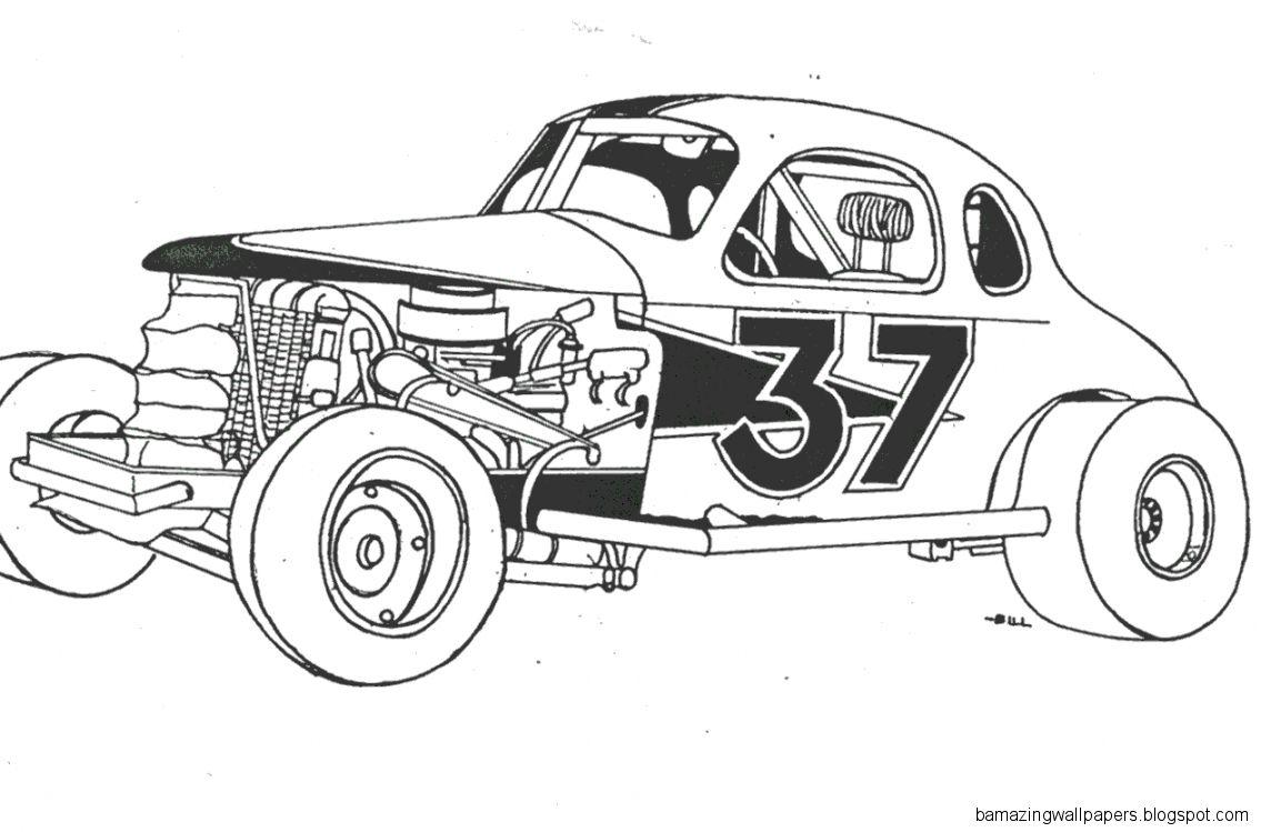 Dirt Track Race Car Drawings Modified Race Car Coloring