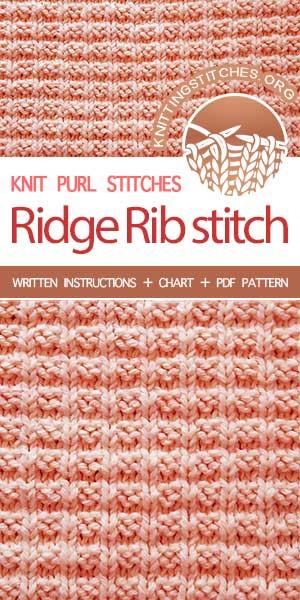 KnittingStitches.org -- The Art of Knitting, knit Ridge Rib stitch #knittingstitches #knitpurl