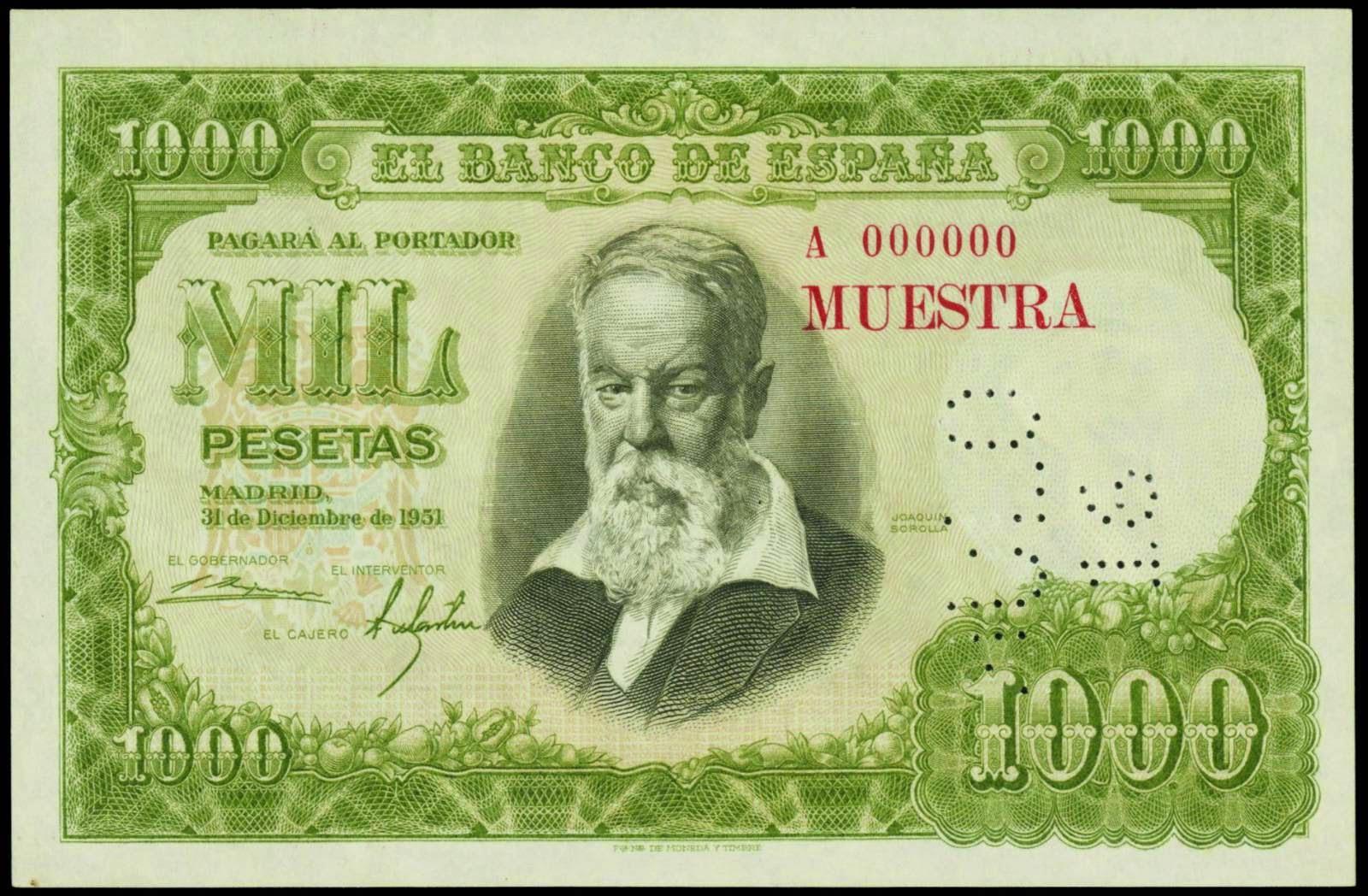 Spain banknotes 1000 Pesetas note 1951 Joaquin Sorolla